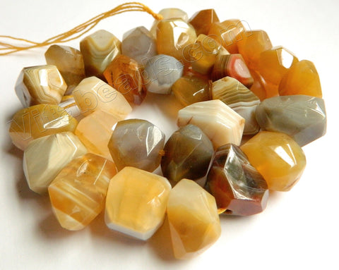 Yellow Botswana Agate A  -  Machine Cut Center Drilled Nuggets 16""