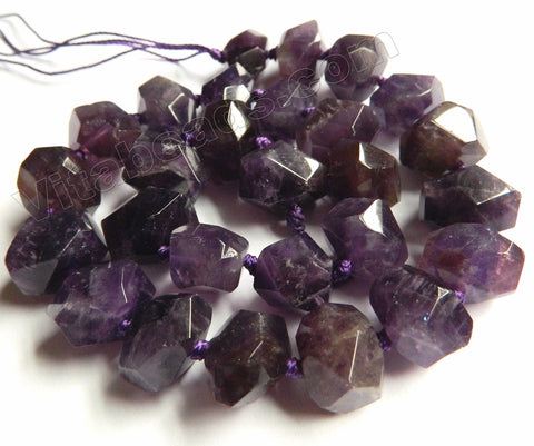 Amethyst Dark Natural   -  Center Cut Faceted Tumble w/ Spacers 16""