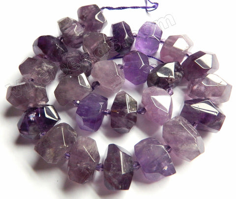 Amethyst Medium Natural   -  Center Cut Faceted Tumble w/ Spacers 16""