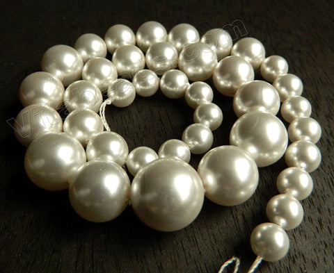 MOP Shell Pearl  -  Cream White  -  Graduated Smooth Round Beads 16""
