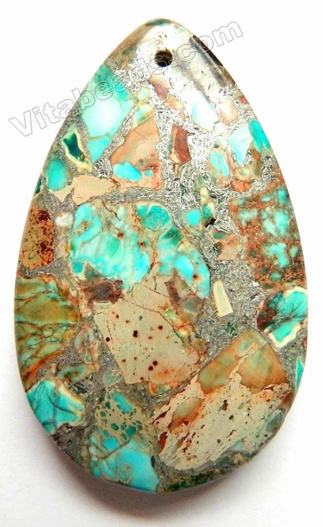 Light TQ Blue Brown Impression Jasper Pyrite Recomposed  Smooth Teardrop Pendant