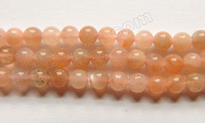 Pink Sun Moonstone A  -  Smooth Round Beads  15""
