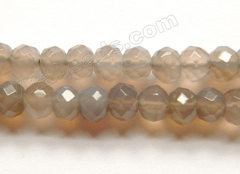 Grey Agate  -  Faceted Rondel  16""