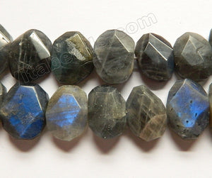 Labradorite Dark AAA -  Center Drilled Faceted Flat Ovals 16""