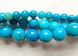 Deep Blue Crazy Lace Agate A  -  Smooth Round Beads  16""
