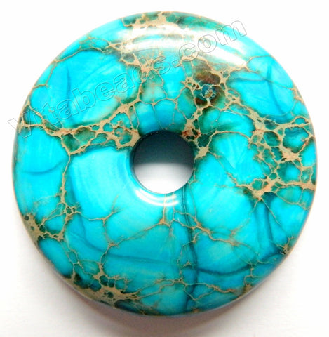 Smooth Pendant - Donut Aqua Impression Jasper