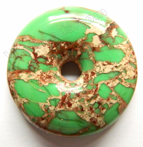 Smooth Pendant - Donut Olive Green Impression Jasper
