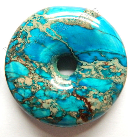 Smooth Pendant - Donut Dark Aqua Impression Jasper