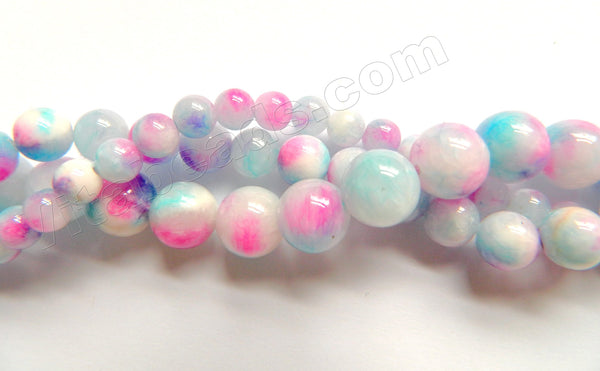 Light Purple Blue White Candy Jade  -  Smooth Round Beads  16""