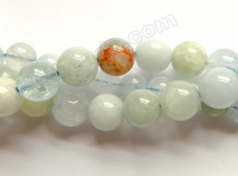 Multi Colored Aquamarine HK (Natural) AA  -  Smooth Round 15""
