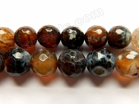 Brown Fire Agate w/ White Spots  -  Faceted Round  14""