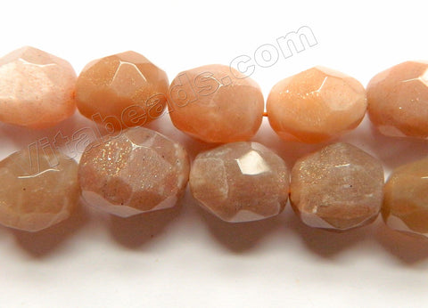 Pink Moonstone Natural AAA  -  Machine Cut Egg Nuggets  16""