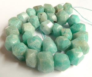 Light Russia Amazonite Natural A  -  Center Drilled Machine Cut Rondel Nuggets 16""
