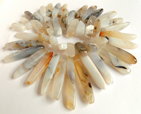 Natural Warm Agate AAA  -  Graduated Smooth Top-drilled Long Sticks 16""
