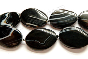 Black Sardonix Agate AAA  -  Big Twisted Flat Ovals w/ Knot  16""