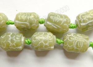New SoCho Jade  -  Carved Buddha Head Drums  8""