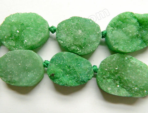 Green Druzy Quartz  -  Flat Oval Tumble  8""
