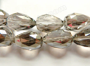 Smoky Crystal Quartz  -  Drilled Through Faceted Drop 8""