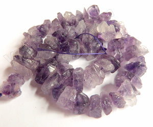Light Amethyst Natural A  -  Center Drilled Small Rough Nugget Chips  16""
