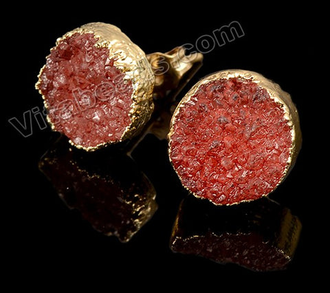 Rough Red Druzy Round Ear Buds w/ Gold Foil
