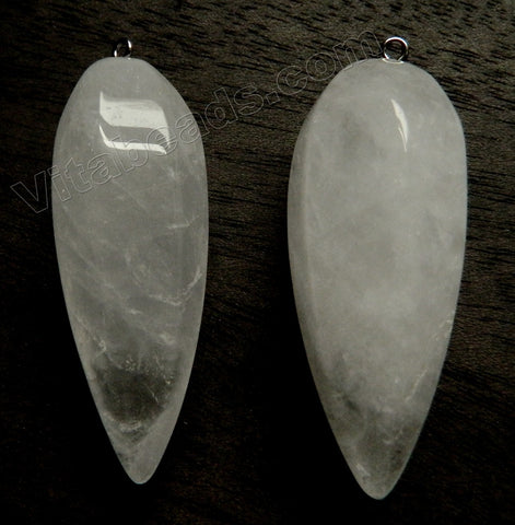 Cloudy Crystal Quartz Natural 6-Side Long Point Pendant