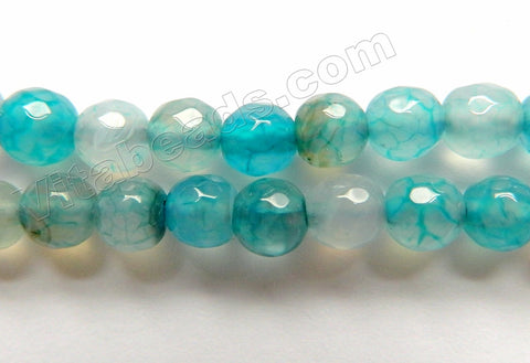 Aqua Blue Fire Agate Light   -  Faceted Round  15""