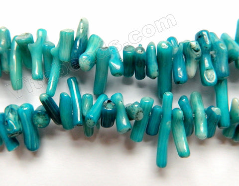 Dark Turquoise Blue Coral -  Side Drilled Sticks 15""