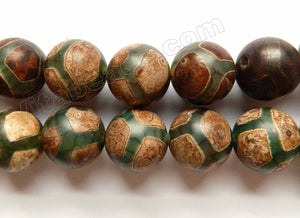 Tibetan Turtle Agate  -  Smooth Round Beads  15""