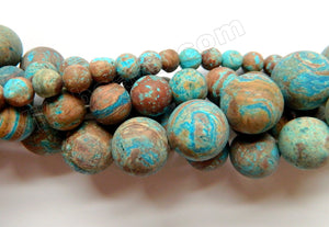 Matte Aqua Stripe Jasper  -  Frosted Smooth Round  16""