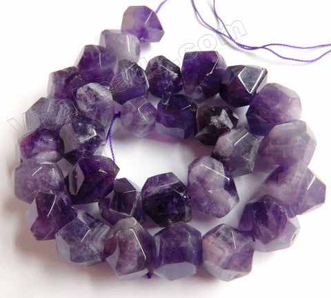 Amethyst -  Machine Cut Center Drilled Nuggets 16""