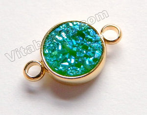 Turquoise Blue Druzy Round Connector w/ Gold Trim