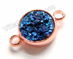 Sapphire Blue Druzy Round Connector w/ Rose Gold Trim