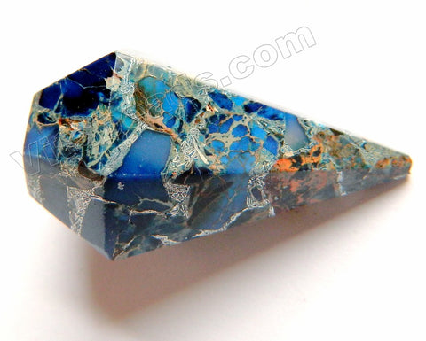 Lapis Prase Pyrite Recomposed  Faceted Point Pendant