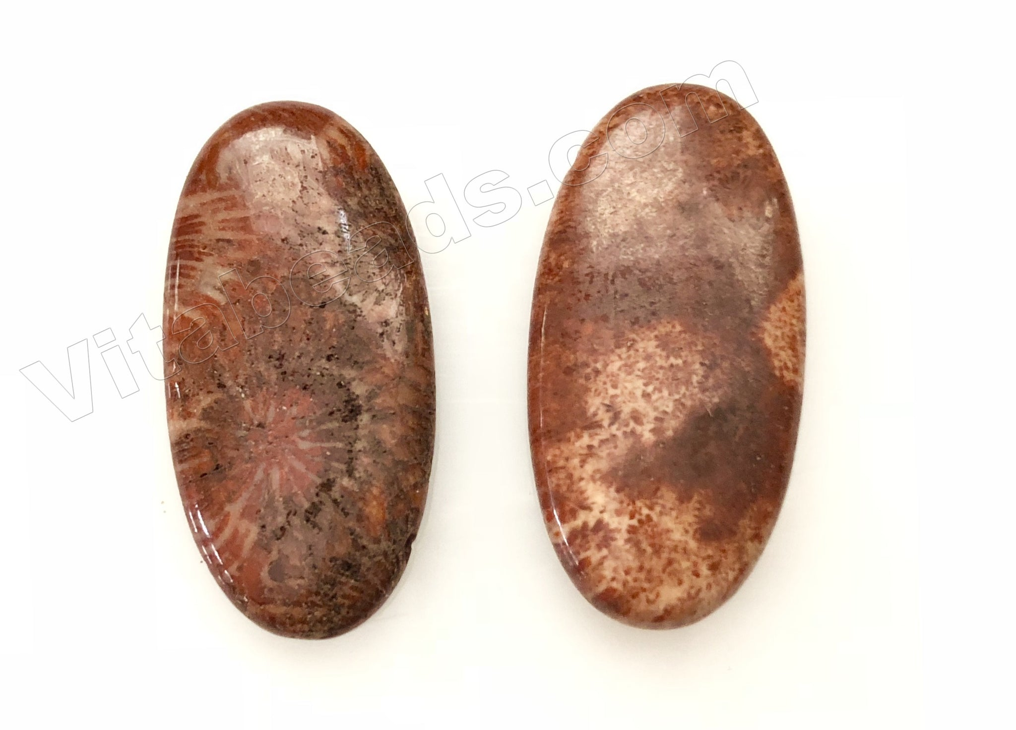 Pendant - Smooth Long Oval Red Fossil Jasper
