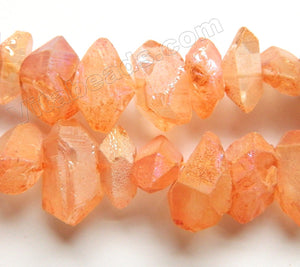 Coated Light Orange Crystal Natural AA  -  Machine Cut Center Drilled Pendulum Nuggets  16""