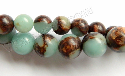 Mixed Amazonite Bronzite Prase Jasper  -  Smooth Round  16""