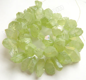 Coated Light Peridot Crystal Natural AA  -  Machine Cut Center Drilled Pendulum Nuggets  16""