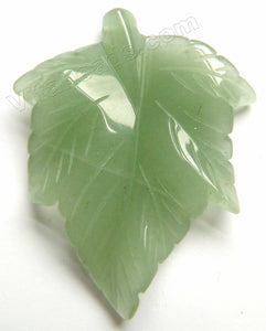 Green Aventurine Carved Leaf Pendant
