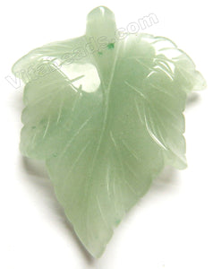 Light Green Aventurine Carved Leaf Pendant