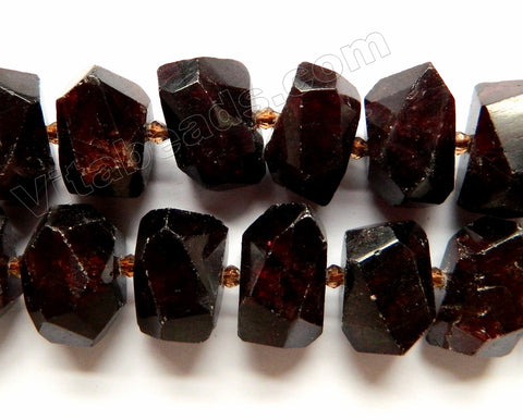 Dark Garnet Natural A  -  Machine Cut Center Drilled Nuggets w Spacer  15""