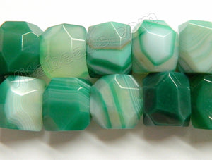 Green Sardonix Agate  -  Machine Cut Center Drilled Faceted Rectangle Nuggets  15""