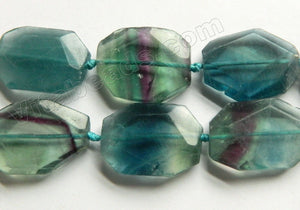Blue Green Fluorite Natural  -  Irregular Faceted Flat  15""