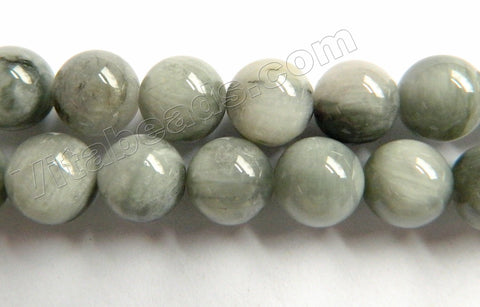 Grey Eagle Eye Quartz  -  Smooth Round Beads  16""