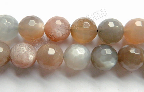 Mixed Grey Pink Moonstone Natural AAA  -  Faceted Round 15""