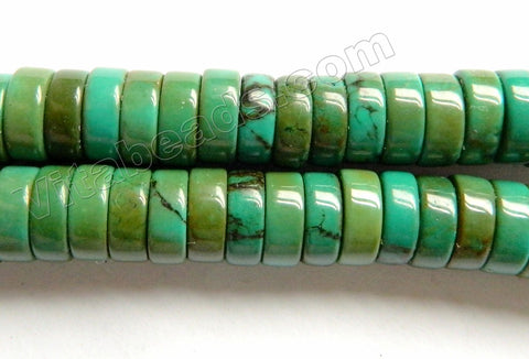 Stablelized Dark Green Turquoise  -  Heishi  16""