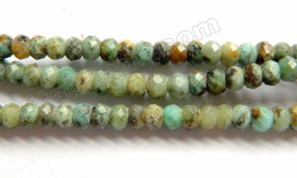 Light Africa Turquoise  -  Small Faceted Rondel  15""