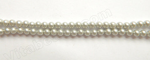 Matte Light Grey Shell Pearl  -  Smooth Round Beads 15""