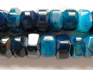 Dark Blue Sardonix Agate  -  Big Machine Cut Rondels  15""