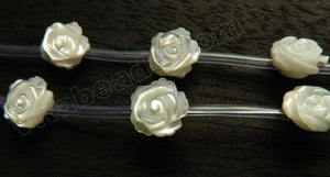 Mother of Pearl (White)  -  Carved Single Side Roes Bulbs  14""