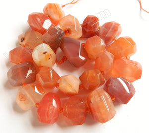 Peach Carnelian Agate Natural  -  Machine Cut Center Drilled Nuggets w Spacer  15""
